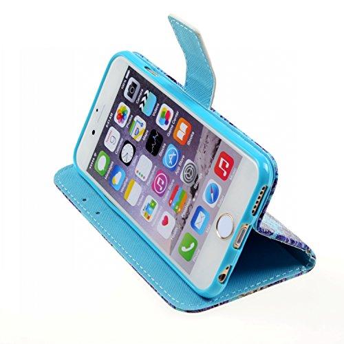 iPhone 6S plus Flip Hülle,iPhone 6 plus Case,iPhone 6S plus Tasche - Felfy Handytasche für Apple iPhone 6 / 6S plus Vintage Mond Liebe Vogel Stil mit Ständer Halter Card Slot Magnetic Button PU Leder  Blau Blume