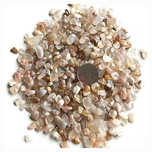 AITELEI 1 lb natürlichen weißen Kristall getrommelt Chips zerkleinerte Stein Healing Reiki Kristall unregelmäßige Geformte Steine Schmuck Machen Heimtextilien (Cherry Blossom Agate) - Blossom Chip