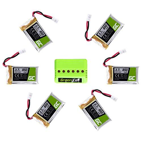 Preisvergleich Produktbild Green Cell® Satz 6 Batterien und Ladegerät für Drone RC Quadrocopter Syma H5C X5 X5A X5C X5SW X5SC Explorers ( Li-Polymer, 850 mAh, 3.7V, 25C/50C, JST-xh Stecker )