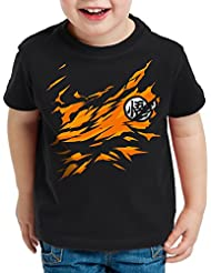 style3 Poitrine Goku T-Shirt pour enfants songoku dragon z super saiyan turtle ball