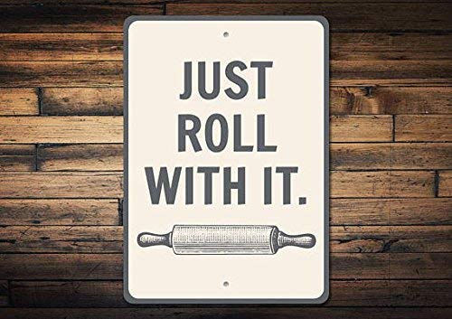 Shimeier Roll It Rolling Pin Retro Vintage Tin Sign Coffee House Business Dining Room Pub Beer 20 cm x 30 cm Round Rolling Pin