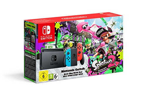 Console Nintendo Switch avec Joy-Con – rouge néon/bleu néon + Splatoon 2