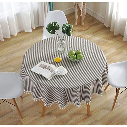 Meiosuns Runde Tischdecke Gestreifte Kreis Tischdecken Fringe Tischläufer Einfache und Elegante Heimtextilien für den Innen- und Außenbereich (Durchmesser 150 cm, Braun/Weiße Streifen) - Gestreifte Leinwand