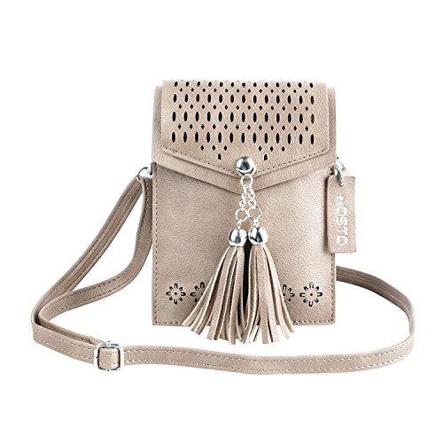 Frauen Mini Umhängetasche, SeOSTO Quaste Umhängetasche Handy Geldbörse Wallet [Vintage Beige] (Geldbörse Kleine Mädchen)