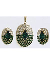 DollsofIndia Green And White Zirconia Stone Studded Oval Shaped Pendant And Earrings - Stone And Metal (AS74-mod...