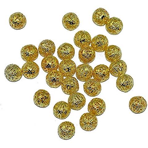 50pz 10 mm Fai Da Te Di Metallo Rotonda Gioielli In Perline Distanziatore Fare Charms Sciolti Oro