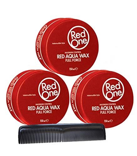 RedOne Aqua Wax Full Force Red 150ml 3 Stück + GRATIS Taschenkamm Stylingkamm Pomadenkamm
