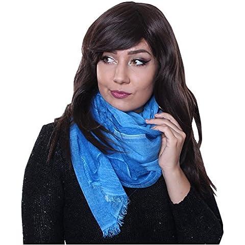 Prettystern - lunga sciarpa di seta 210 cm tie-dye lavati ottica stoffa tinta unita donne degli uomini - la selezione del colore