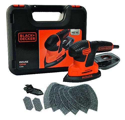 Black + Decker 120W Compact-Mouse Schleifer im Koffer, Klett-Fix, Staubfangbehälter mit Mikrofilter, KA2500K