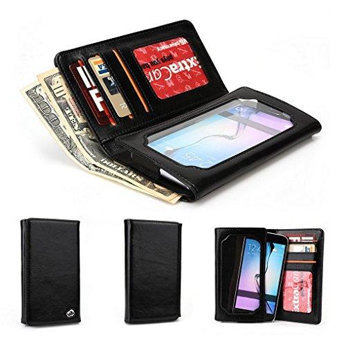 Kroo Portefeuille unisexe avec Samsung Galaxy S6/Grand Prime Duos TV universel différentes couleurs disponibles avec affichage écran noir noir