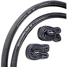 Schwalbe Lugano - Pack de 2 cubiertas y cámaras de aire para bicicletas de carretera (con protección antipinchazos, 700c x 25), color negro