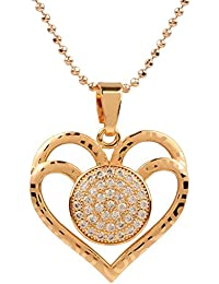 Ananth Jewels Heart Shaped Rose Gold Plated Pendant Necklace For Women - B073T4BPXW
