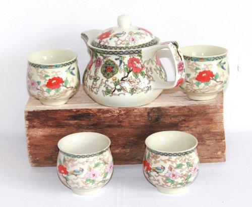 AAF Nommel ® Asiatisches Teeset 307 Teeservice aus Keramik 5tlg. Teekanne mit doppelwandigen Tassen