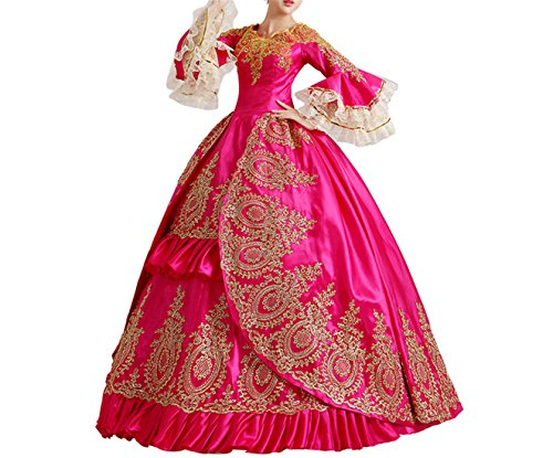 Nuoqi Damen Satin Gothic Viktorianisches Kleid Renaissance Maxi - Renaissance Long Sleeve Kostüm