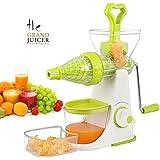 Incredible® Elite Special Fruit & Vegetable Premium Manual Hand Juicer Mixer Grinder With Steel Handle, Juice Collector & Waste Collector, Orange/ Green