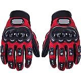 TOOGOO(R) 1 paire de Gants de moto Gants de course Moto fibres PU rouge M