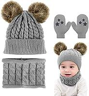 CheChury Conjunto de Bufanda y Gorro de Punto Unisex Niños Niñas Invierno cálido Punto Beanie Gorros con Pompo