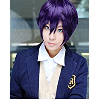 LanTing Cosplay Peluca Noragami Yato Yaboku purple short Cosplay Party Fashion Anime Human Costume Full wigs Synthetic Cabello Heat Resistant Fiber