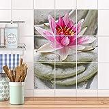 creatisto Küchenfolie, Küchen-Fliesen I Fliesentattoo Küche Bad Fliesenbild Badezimmerdeko I 20x25 cm Design Motiv Flower Buddha - 9 Stück