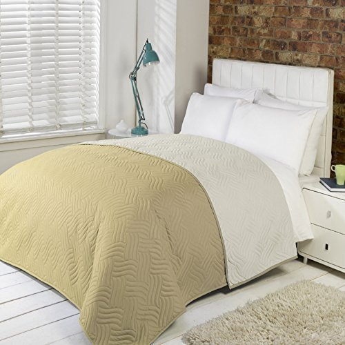 Luxury Soft Quilted Comforter Microfibre Throw Bedspread Bedding Fits Double King Size Bed (Latte)