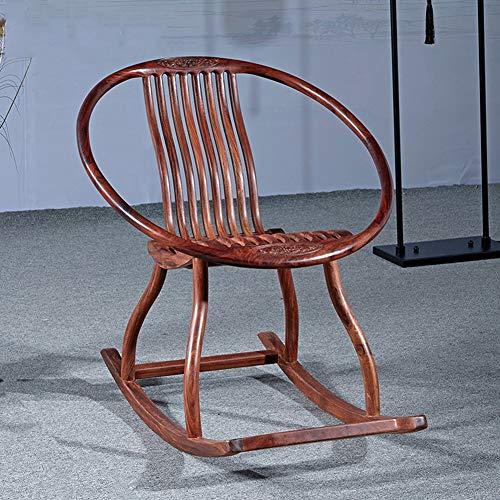 Fauteuil à bascule, chaise longue confortable en bois massif inclinable loisir chaise loisir chaise chaise longue fauteuil inclinable relax W/bois cadre patio pelouse & jardin intérieur ou extérieur
