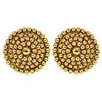 Jewelsiya Small Gold Plated Light Weight Round Stud Push Back Indian Jewellery Earring For Womens And Girls