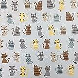 Beige Neuheit Katze Baumwolle Rich Leinen Look Stoff für Vorhänge Jalousien Craft Quilting Patchwork & Upholstery 139,7cm 140cm breit, Meterware,