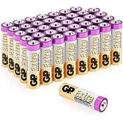 Piles AA 1.5V / Piles LR6 / MN1500 / AM3 - Lot de 40 - GP Extra alcaline Batterie