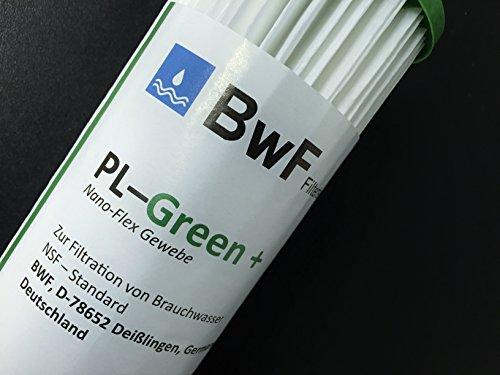 BWF ORIGINAL NANO – SET 10 Zoll mit 1″ Anschluß Filtergehäuse + 1x IHRE WAHL der FEINHEIT Mikron Membrankartusche (NANO beschichtet) hervorragend auswaschbar! Mehrwegkartusche, GEHÄUSE – als Schmutz Wasser Vorfilter für Wasserfilter , Umkehrosmose Anlage Hauswasserwerk Brunnenwasser Garten Pool (0,22µ) - 2