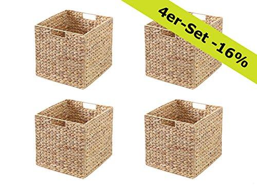 Ikea Kallax Expedit Regal Korb 34 x 32 x 32 cm aus Wasserhyazinthe Natur Faltkorb Flechtkorb Regalbox Storage Box Aufbewahrungskorb Schrankkorb klappbar faltbar und sehr stabil 4er-Set Sparpreis - Regal Körbe