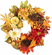 Holiday Wreath for Front Door, Fall Maple with Pumpkin Pinecone Berry Artificial Décor for Thanksgiving, Harve