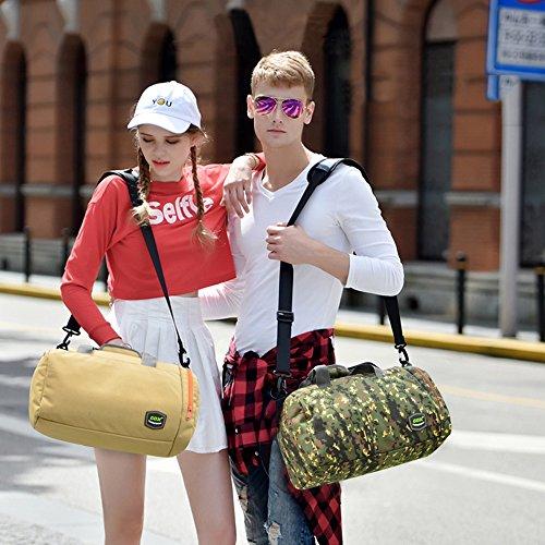 GOX Sport-Sporttasche mit Schuhbeutel Multifunktions-Umhängetasche Sport Reise Duffel Über Nacht ausdrücken Weekender Tasche Handgepäck Für Männer und Frauen Gelbe Tarnung