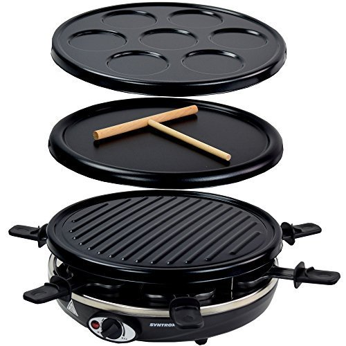 Syntrox Germany Basel 4 in 1 Raclette Crepemaker Grill Pancakemaker für 6 Personen