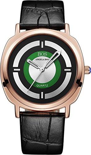 Angela bos Mujer anolog de cuarzo japonés luminated puntero reloj correa de piel hebilla Band 8007Negro