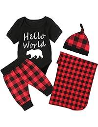 Conjunto de Disfraz de Hello World para niños con diseño de Oso y pantalón a Cuadros con Manta