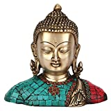 StatueStudio Indian Buddha Bust Statue for Home Decor Table Top Shopiece Corporate Thanksgiving Gift Idol Small Brass Fine Inlay Work Sculpture Figure Height 7 inches