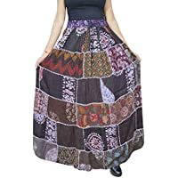 Mogul Interior Women Patchwork Skirt Brown Rayon Printed A-Line Long Flare Skirts S/M