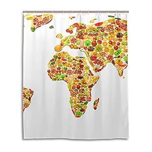 jstel Decor cortina de ducha mundo mapa frutas y verduras patrón impresión 100% tela de poliéster cortina de ducha 60x 72cm para el hogar baño decorativo ducha baño cortinas