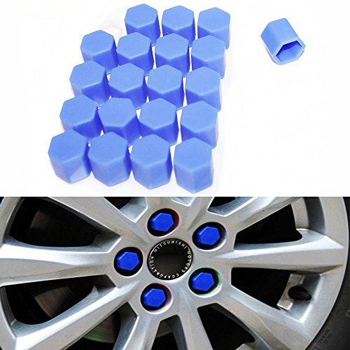 20 caches en silicone Moyeu de roue de voiture 17 mm Écrous jantes Ergots Boulons Vis couvertures de rouille Bleu