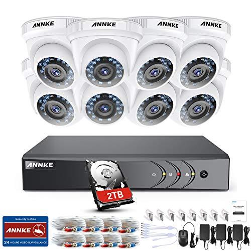 ANNKE Kit VideosorveglianzaDVR 8 Canali 3MP8 Dom Camera 1080P HD TVI Telecamera di Sicurezza Kit Telecamere Videosorveglianza IR-Cut Visione Notturna IP66 Interno ed Esterno 2TB HDD
