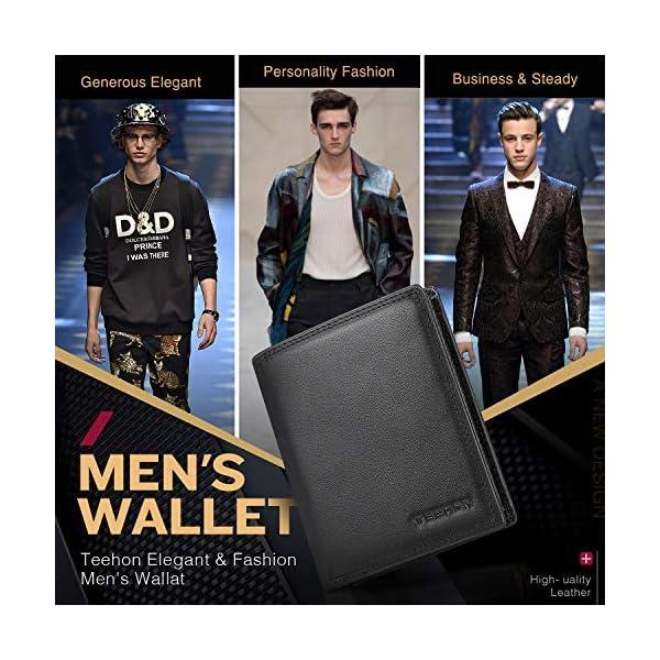 TEEHON® Portafoglio Uomo Brifold Vera Pelle Blocco RFID, con Tasca Portamonete, 12 Porta Carte di Credito, 2 Scomparti… 4 spesavip