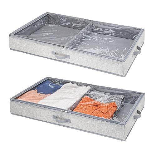 mDesign Unterbettkommode für Kleidung und Schuhe - Aufbewahrungsbox mit 2 Fächern - platzsparende Kleideraufbewahrung - grau - 2er Set