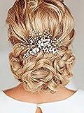 Aukmla Peigne à cheveux avec perles et strass pour mariée Argent