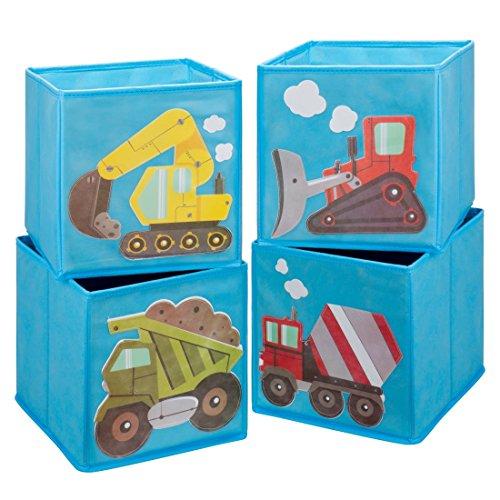 Ava & Kings Faltbar Würfel Vorratsbehälter Behälter Ablagefach Schubladen - Kinder' Hellblau Stoff Konstruktion Thema Organizer für Jungen Mädchen - 4er Set - Monster-lkw-spielzeug Mädchen,