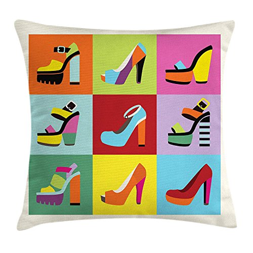 Fashion Throw Pillow Cushion Cover, Retro Funky Stiletto Heels and Wedge Shoes Design in Pop Art Style Colorful Tiles, Decorative Square Accent Pillow Case, 18 X 18 inches, Multicolor Jade Suede Heels
