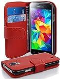 Cadorabo Hülle kompatibel mit Samsung Galaxy S5 Mini / S5 Mini DUOS Hülle in Inferno ROT Handyhülle mit Kartenfach aus struktriertem Kunstleder Case Cover Schutzhülle Etui Tasche Book