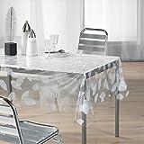 DecorLine Nappe Cristal Imprimé Feuille Blanc 140 x 240 cm