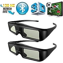 Full HD 1080P Compatible con Todos Proyectores 3D DLP como Acer//BenQ//ViewSonic//LG 2 x Gafas 3D DLP-Link ExquizOn 96-144Hz Gafas 3D Universal con Obturador Activo Recargable para 60 Horas de Uso