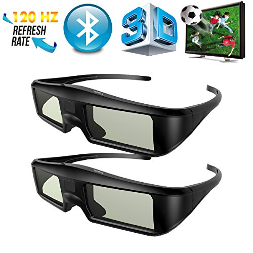 2 x G06-BT 3D Brille Aktive Shutter Bluetooth Smart Glasses für HD 3D TV Fernseher, ExquizOn,...