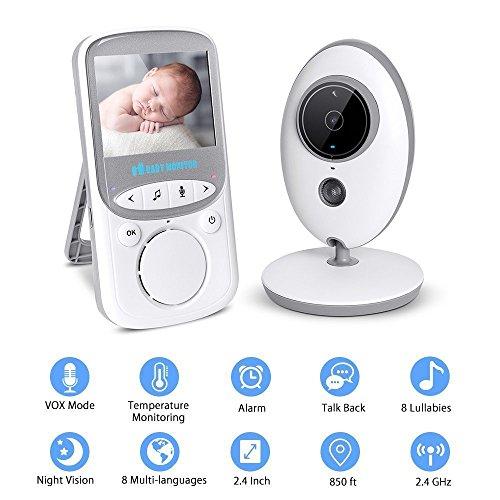 Dulcii bebé moniteur numérique inalámbrico recargable 2.4 pulgadas LCD color pantalla vidé cámara giratoria Vision Nocturna Gran Ángulo de visión, Baby Monitor + Cámara de video vigilancia